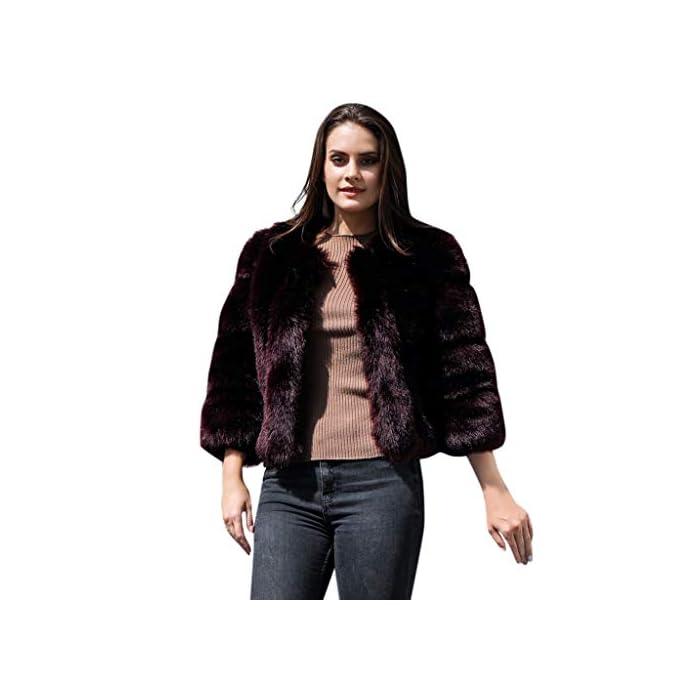 URSING Damen Kapuzenpelzmantel Kunstpelz Fellmantel Faux Fur Jacket Pelzmantel Parka mit Fell Kunstfell Warm Winterjacke…