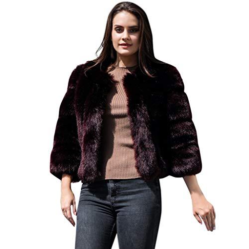 Haughtily Frauen Nähen Kunstpelz Kurzmantel Herbst Winter Warm Langarm Taschen Outwear Mode Edle Luxuriöse Jacken Tops (Trägerlosen Kleid Nähen Muster)