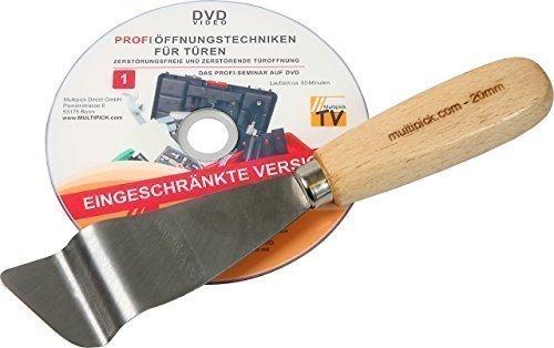 Türfallen-Öffnungsspachtel 20 mm mit Profi Anleitung auf DVD - Profi Schlüsseldienst Tür-Dietrich-Set von Multipick -