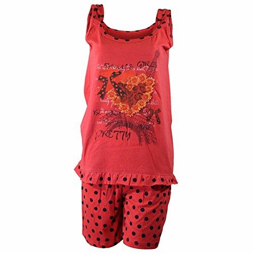 Damen Shorty dünner, sommerlicher Zweiteiler Pyjama in verschiedenen Farben Rot