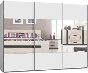 schwebet renschrank schiebet renschrank ca 300 cm 3 trg weiss mit spiegel kauf ab fabrik. Black Bedroom Furniture Sets. Home Design Ideas