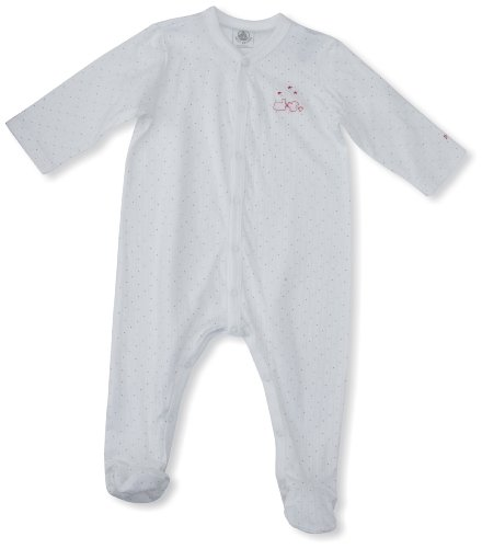 Petit Bateau Baby - Jungen Strampler CALCAIRE, Mehrfarbig (Écume/Gris), 56 (Herstellergröße : 1 Mois)