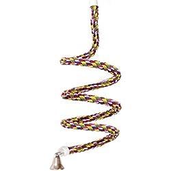 ASOCEA Aves Cuerda Bungee Juguete con Campana algodón Loro Espiral Swing Subir Jaula pie Percha para Aves periquitos pericos