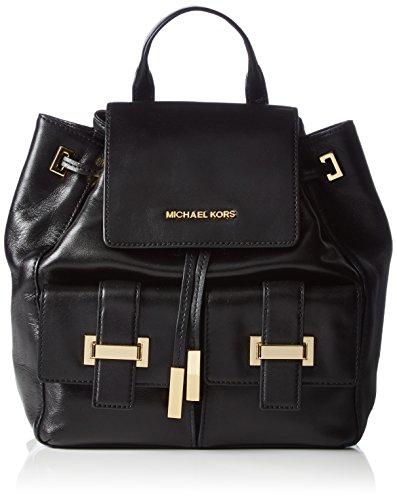 Michael KorsMarly Drawstring Leather Backpack - Bolso de Mochila Mujer , color Negro, talla 28x28x12 cm (B x H x T)