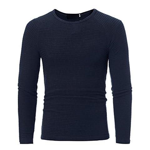 Toamen Homme Automne Hiver T-shirt Col V Manches longues Melange de coton Uni Tops (L, Marine A)