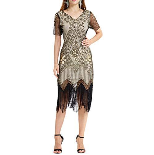 Kleider Damen,SANFASHION Damen Kleid Retro 1920s Stil Flapper - Klassische Flapper Sexy Kostüme