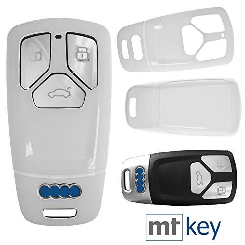 Keyless Auto Schlüssel Cover Hülle Smartkey Hartschale Weiß für Audi A4 A5 A6 A7 TT Q2 Q5 Q7 A8 Q8