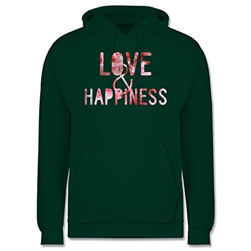 Statement Shirts - Love & Happiness Pink - Männer Premium Kapuzenpullover / Hoodie Dunkelgrün