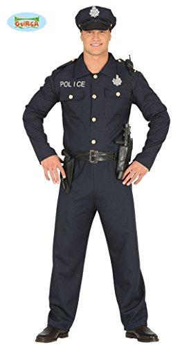 Sexy Cop - Kostüm für Herren Karneval Fasching Party Polizist Polizei Blau Gr. M - L, Größe:L