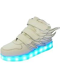 Sunching Muchachos Muchachos primero caminan los zapatos que destellan la zapatilla de deporte ligera del LED blanco tamaño 21 ZaNI0xbCy