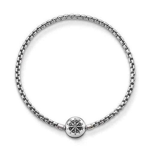 Thomas Sabo Damen Herren-Armband Karma Beads 925 Sterling Silber geschwärzt Länge 18 cm KA0002-001-12-L19 - Herren Armband Bead