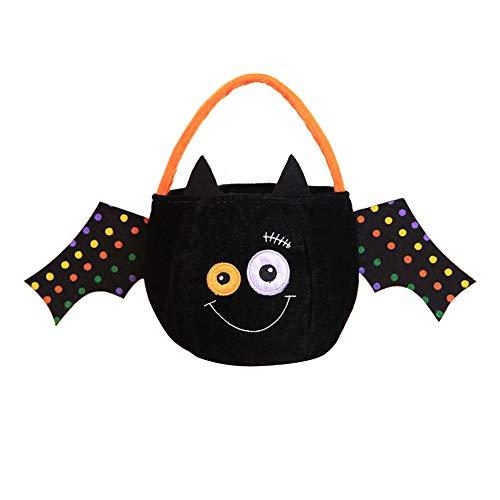 Cosanter Halloween Kleinen Korb Tragbare Süßigkeiten Tasche Kinder Make-up Party Kostüme (Schwarzes Schläger Muster)