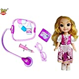 Toy Arena 7 PCS Medical Instrument Doctor Play Set Toy And Lovely Princess Doll With 3D Eyes For Kids