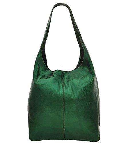 Freyday Damen Ledertasche Shopper Wildleder Handtasche Schultertasche Beuteltasche Metallic look (Grün Metallic) -