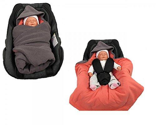 Einschlagdecke für die Babyschale Fußsack für kalte Tage in verschiedenen Farben von HOBEA-Germany, Farben Winterdecken:grau lachs Lachs-tag