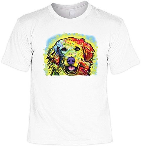 T-Shirt mit buntem Hunde Motiv - Golden Retriever - Hundebild - Geschenk für alle Tierliebhaber und Hundefans - weiss Weiß