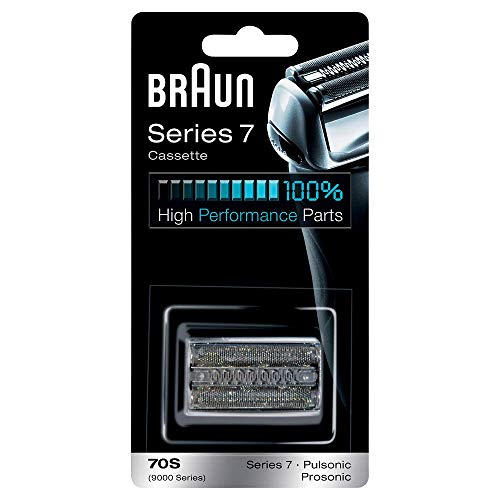 Braun Cassette70S - Recambio para Afeitadora Eléctrica Hombre Series 7 Generación Actual y Antigua, y Pulsonic, Set de Láminas de Recambio y Portacuchillas, Color Plata