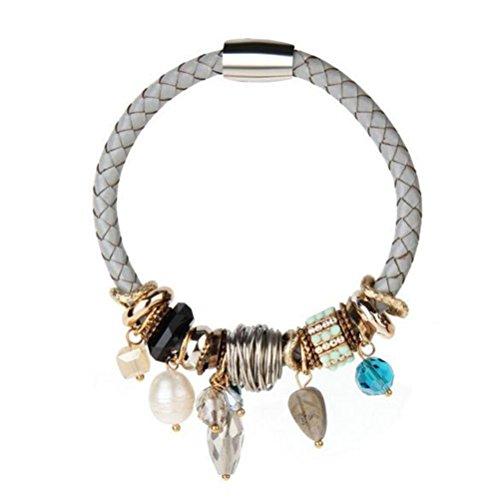 TIZIKJ Frau Armband Persönlichkeit Echt Leder Multi-Element Kristall Perle Anhänger , grey