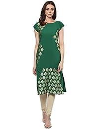 Ziyaa Women's Green Color Self Print Straight Crepe Kurta (ZIKUCR1576)