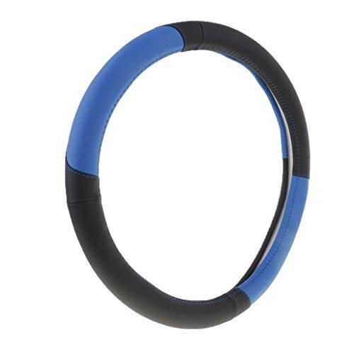 MagiDeal 1 Stück Anti-Rutsch, Atmungsaktiv Auto Lenkradabdeckung aus PU Leder + Gummi - Schwarz Blau