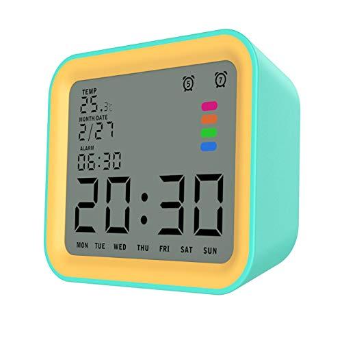 MoKo Sveglia Digitale, Sosveglia Digitale da Comodino con Schermo da 3,5 Pollici Rettroilluminato, Impostazione Temperatura/Ora/Data, Orologio Sveglia per Camera, Cuccina Arrancione - Arancio,Blu