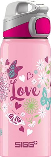 Sigg Miracle Alu Love, Kinder Trinkflasche, 0.6 L, BPA Frei, Aluminium, Rosa (Wasser Flasche Pfeil)
