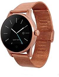 Classic salud Metal Smartwatch con Bluetooth Monitor de frecuencia cardíaca para Android oro rosa reloj de acero