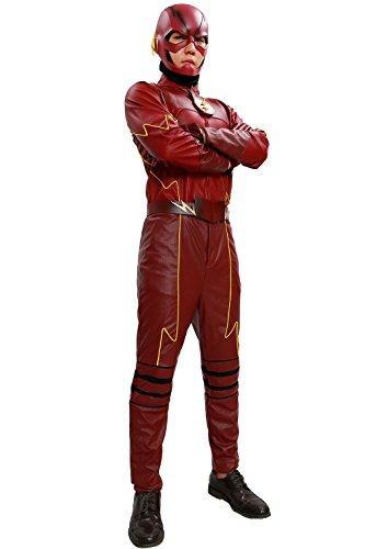 Wellgift Halloween Kostüm Cosplay Erwachsene Herren Rot Leder Outfit Top Hosen Gürtel Mit Brust Abzeichen Barry Saison 2 Kleidung Anzug für Karneval