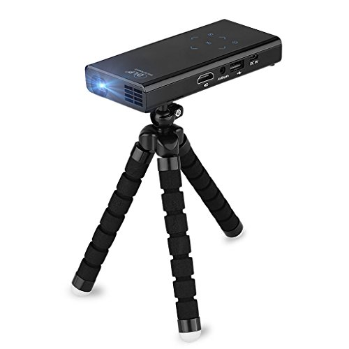E06 - Mini Portatil Proyector DLP LED con Trípode (Soporta 1080P, 120 Lumenes, 30000 Horas, AV USB SD HDMI, Multimedia Home Cinema, Multi-Idiomas, Compatible con Iphone Android Tablet),