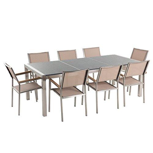 Beliani Gartentisch aus Edelstahl – Platte Granit dreifach grau poliert 220 cm mit 8 Stühlen aus Textil beige Grossetto