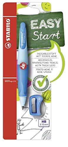 Ergonomischer Druck-Bleistift für Rechtshänder - STABILO EASYergo 3.15 in hellblau/dunkelblau - inklusive 1 dicken Mine - Härtegrad HB & Spitzer -