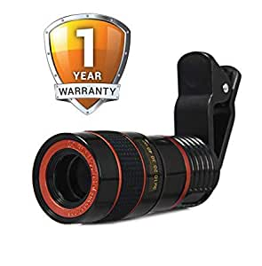 JIKRA Telescope Camera Lens HD 8X Optical Telescope Camera Lens for Mobile Phone with Universal Clip Suitable for iPhone Samsung LG Asus Sony iPad