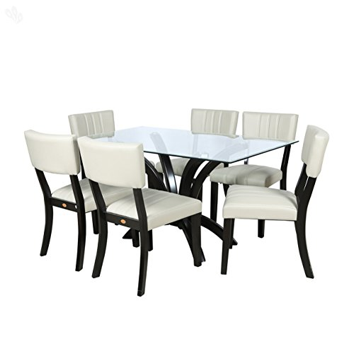 Parin Angel Six Seater Dining Table Set (Black and White)