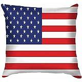 Butlerame Imagen de la Bandera Americana Funda de Almohada Funda de cojín Acuarela para sofá
