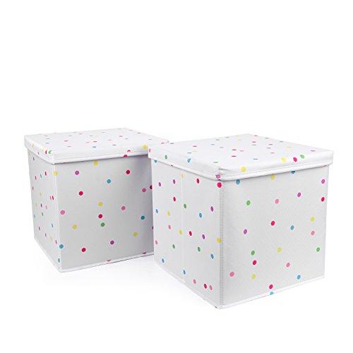 HOMIE 2er Set Ordnungsbox, Aufbewahrungskiste, Sitztruhe, Spielzeugkiste bunte Punkte (30 x 30 x 30 cm)