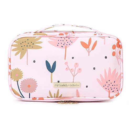 Kosmetiktasche Damen Make Up Etui/Pinsel Tasche für Handtasche Tragbare Reise Aufbewahrungstasche Toiletry Organizer Kosmetikbeutel mit Make up Pinsel Organizer (Pink) -