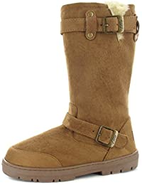 589ccd67fd56 Ella Ladies Faux Suede Fur Lined Tall Warm Winter Buckle Biker Snow Boots -Harley