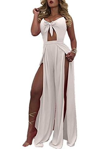 Monissy Femmes Combinaison Pantalon En Mousseline De Soie Avec Nœud Dual Split Pants Sexy
