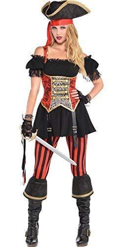 Fancy Me Damen Piraten Lassie Damen Seeräuber Karneval Halloween Junggesellinnenabschied Tv Buch Film Kostüm Kleid Outfit mit Hut UK 8-20 Übergröße - UK - Übergröße Damen Piraten Kostüm