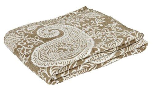 Yoga couverture PAISLEY couverture faite en Allemagne, 150 x 200 cm, 100% coton avec décoration crochet lisière, hermelin / nature
