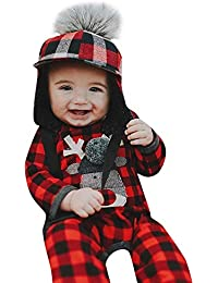 Baby Weihnachten Fawn One Piece Langarm Plaid Baby Mädchen Winter Weihnachten Warm Pullover Klettern Freizeitkleidung