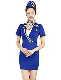 Sicherheit Frauen Sommer Stewardess Uniform T-Shirt + Einfarbig Rock 2 Stück Set