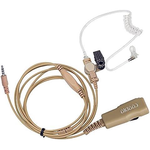 Beige Coodio 3,5mm Cuffia 2-Pin Superiore Microfono con Auricolare [Tubo Acustico] Headset la Sicurezza e (Tactical Air Controllo)