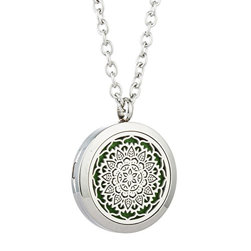 JOYMIAO Hollow Flower Aroma Essential Oil Diffuser Locket Pendant 316L Stainless Steel Magnetic Necklace Jewelry with 8 pads fS5r0Y