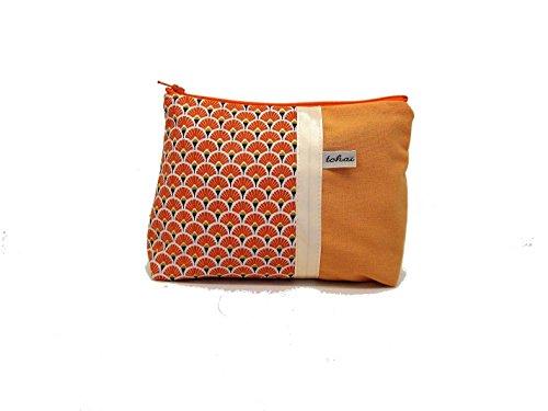 pochette zippée orange a motifs eventails , fourre tout en toile et tissu style scandinave , trousse maquillage graphique