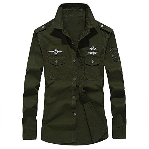 UJUNAOR Herren Herbst Oktoberfest Shirt Beiläufige Militär Cargo Slim Button Langarm-Shirt Top Bluse 6XL(Armygrün,CN L)