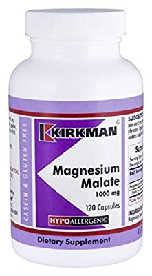 Magnesium Malate 1000 mg - Hypoallergenic - 120 capsules by Kirkman Labs
