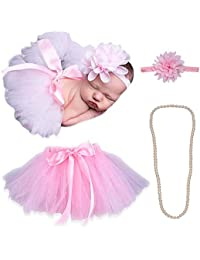 Bembika Newborn's Lovely Princess Tutu Skirt and Headband with Pearl Necklace Photography Prop (Light Pink, 0-9 Months) - Set of 3