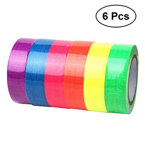 YeahiBaby Cinta adhesiva fluorescente de 6 rollos Cinta adhesiva de neón transparente para decorados Stages Studios Glow Party (color surtido)