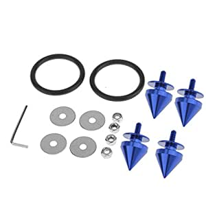 Generic Aluminum Quick Release Fastener Kit For Car Bumper Trunk Hatch + Steel Locking Screw + Steel Washers + Rubber O Rings Bands - blue
